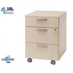CHINESPORT CASSETTIERA A TRE CASSETTI IN FRASSINO 45X45X60