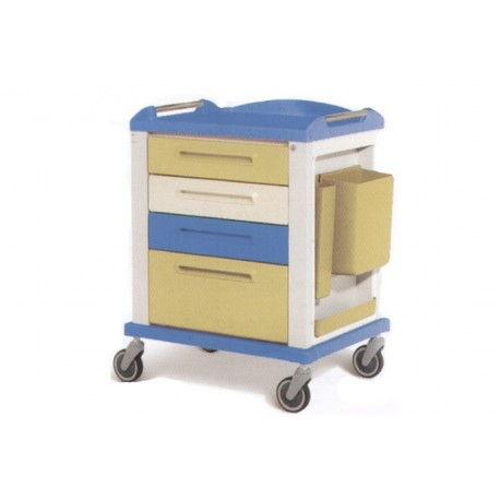 GIMA CARRELLO BASIC PER EMERGENZA E MEDICAZIONE - STANDARD - 4 CASSETTI - 82X64X100