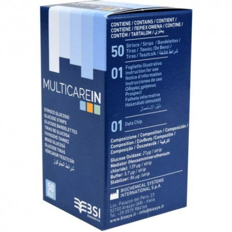 BSI MULTICARE IN STRISCE GLICEMIA - 50 PZ. + 1 CHIP