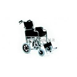 MORETTI CARROZZINA PIEGHEVOLE AD AUTOSPINTA CB5 40CM - Ruote Piene - Braccioli Lunghi - Pedane Laterali