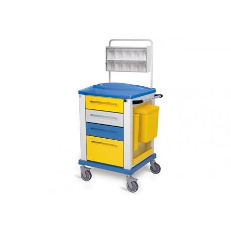 GIMA CARRELLO MEDICAZIONE - SMALL- 4 CASSETTI - 67X64X100