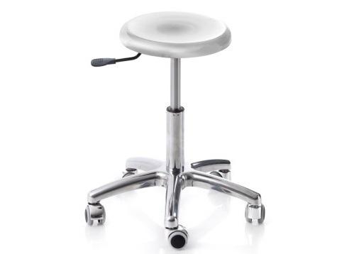 Moretti sgabello girevole con base in alluminio e sedile in acciaio